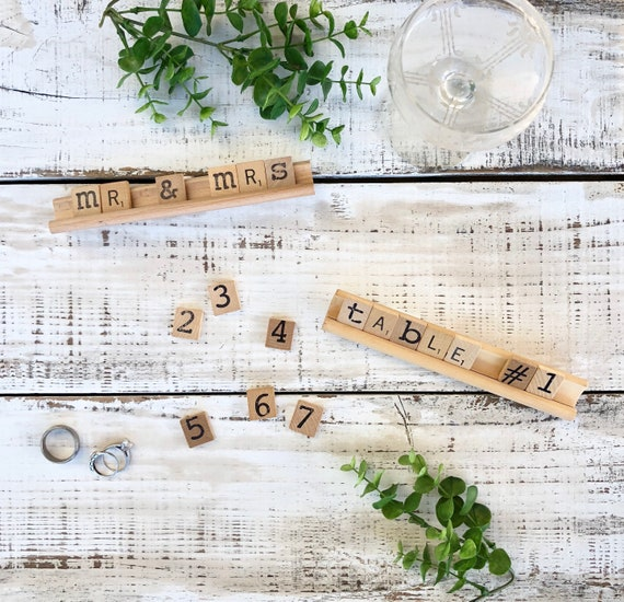 Vintage Scrabble Wood Rack Table Number Signs || wedding decor || rustic wedding FREE SHIPPING