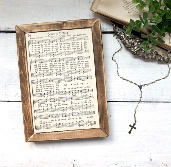 JESUS IS CALLING 1936 authentic page||Wood Frame||original hymnal page||wood sign
