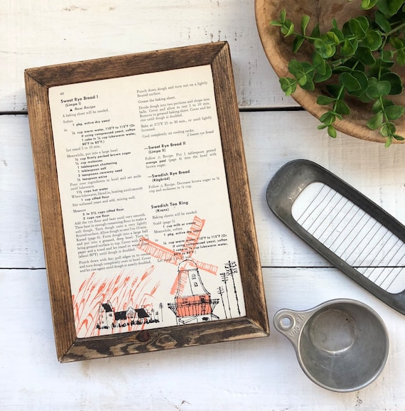 SCANDINAVIAN Vintage Recipe Page Sign || Handmade wood sign || farmhouse decor || kitchen gift || housewarming gift