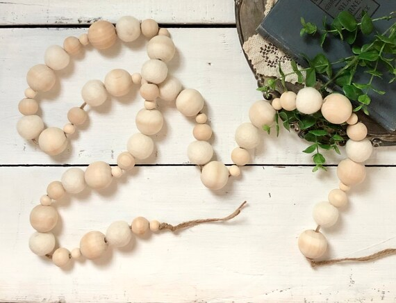 Natural Wood and Cream Wool Ball Handmade Wood Garland Rustic Farmhouse Decor FREE shipping