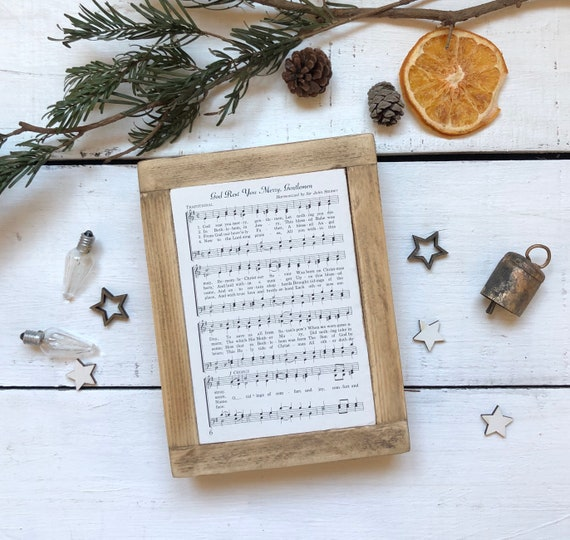 God Rest You Merry Gentlemen Vintage Hymn Wood Frame Farmhouse Decor Christmas Sign Music Page