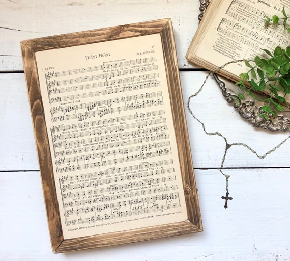HOLY HOLY HOLY and Come, Thou Almighty King 1936 authentic page Wood Frame original hymnal page wood sign Bible Verse wall art farmhouse