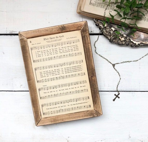 WAIT UPON the LORD Vintage 1936 Hymn Page||Wood Frame Sign||Authentic Hymnal Page||Wood sign