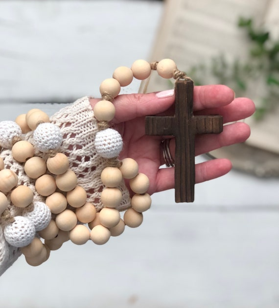Natural Wood and White Crochet Bead Rosary Handmade Prayer Meditation Wood Garland Rustic Farmhouse Decor FREE shipping