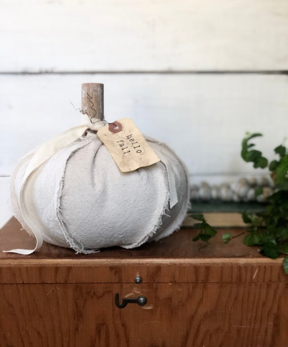 Drop Cloth Fabric Shabby Chic Pumpkin Hello Fall Antiqued Tag Free shipping