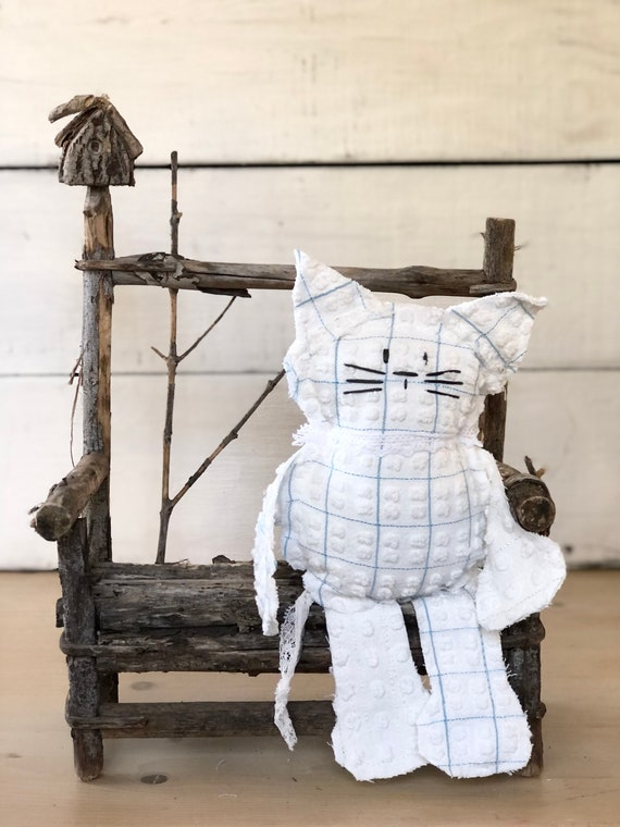 Blue and white polka dot stripe Vintage Chenille Cat Softie Plush Stuffed Animal kitten baby gift birthday free shipping