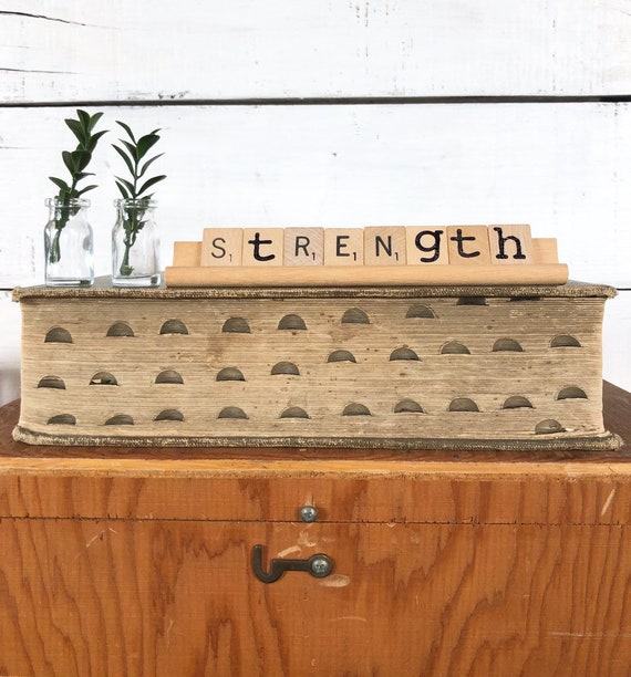 Vintage Scrabble Wood Rack Sign STRENGTH || home decor || farmhouse decor Free Shipping