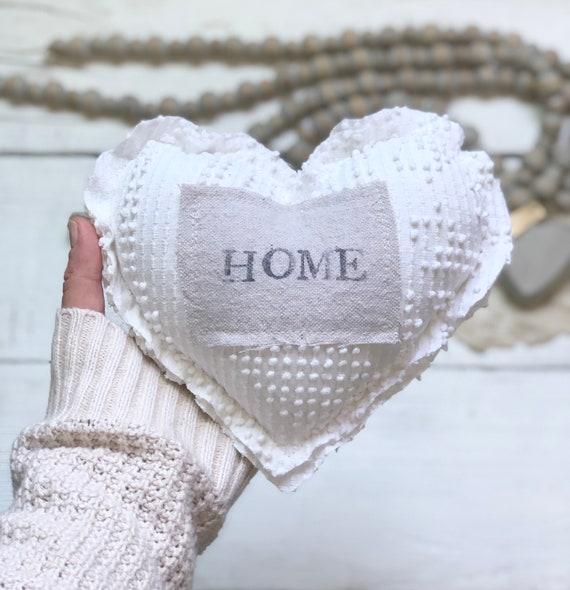 Vintage Chenille Heart Pillow fabric antique HOME Primitive Decor