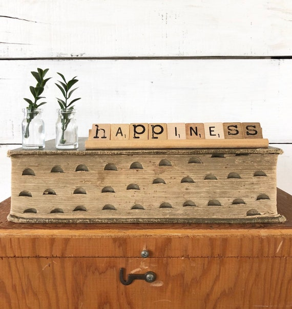 Vintage Scrabble Wood Rack Sign HAPPINESS,Wood scrabble tiles, scrabble tiles, farmhouse style FREE SHIPPING