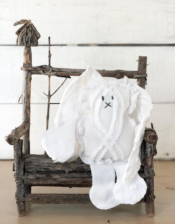 Vintage White patterned Polka Dot Chenille Bunny FREE SHIPPING Easter decor farmhouse