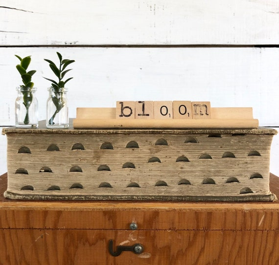 Vintage Scrabble Wood Rack Sign BLOOM FREE SHIPPING