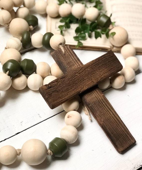 4 Foot Large Natural Wood Bead Rosary Giant Handmade Prayer Meditation Wood Garland Rustic Farmhouse Decor FREE shipping 10 vintage beads