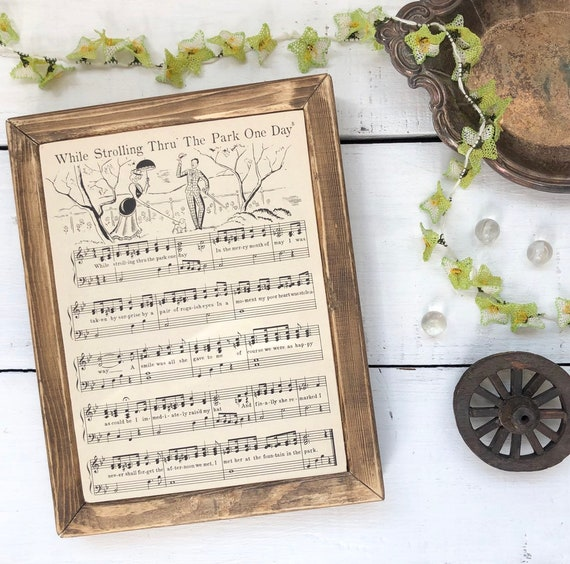 WHILE STROLLING THROUGH The Park One Day Vintage 1930's Song PageWood Frame Sign kids room play room nursery baby