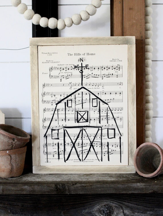 1930's Authentic Music Page Hand Painted Barn Wood Sign farmhouse decor The Hills Of Home