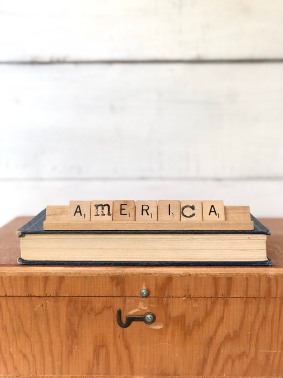 Vintage Scrabble Wood Sign || AMERICA Free Shipping fourth of july Independence Day