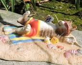 Laid Back Cat Figurine by L. A. Berry,  Tabby Cat cat relaxing on the beach. FREE NOTE CARD included!