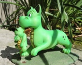 """Baby Dragon Needs a Bath Figurine by L. A. Berry,   """"But I Don't Need a Bath"""" Mama and Baby Dragon  MATCHING CARD included!"""