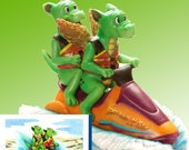 Dragons on a Jet Ski Figurine by L. A. Berry,   Dragon Twins having fun on the river.  FREE NOTE CARD included!