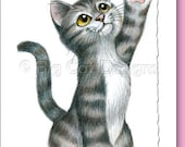 5x7 Cat Greeting Card HIGH FIVE blank inside