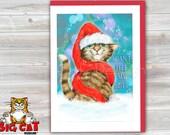 CHRISTMAS Holiday Cat Card, 5X7 Frame Ready Card.  I Cant Fell By Butt.  Handmade Card
