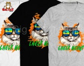 CHECK MEOWT Cat T-shirt, Cool Maine Coon Cat in Sunglasses.  Cute Beach Cat.  DTG, not a transfer