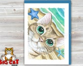 CAT CARD. Summer Kitty. Big Eye Tabby Cat Greeting Card. 5x7 size. Handmade note card signed by the artist- blank inside
