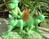 """Dragons with Cricket Figurine by L. A. Berry,  """"Brave in the Face of Great Danger""""  Funny dragons MATCHING CARD included!"""