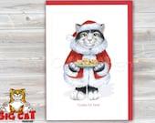 CHRISTMAS Holiday Cat Card, 5X7 Frame Ready Card.  Santa Claus Cat with Cookies.  Handmade Card