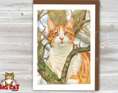 Cat Greeting Card  ORANGE TABBY in a tree - 5x7 size. Handmade note card signed by the artist- blank inside - by L. A. Berry