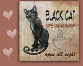 Cat Spoon Rest BLACK CAT COFFFE House - - use as art, spoon rest or trivet - 6x6 inches, Great Kitchen Art