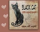 6x6 Cat Spoon Rest BLACK CAT COFFFE House - Use as cat art, cat tile, cat spoon rest or cat trivet. Great Kitchen Art
