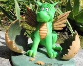 """Hatching Baby Dragon Figurine by L. A. Berry,  """"Just Hatched""""  Cute Baby Dragon  MATCHING CARDincluded!"""
