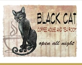 Black Cat Greeting Card,  BLACK CAT COFFEE House & Tea Room - 5x7 size. Handmade note card signed by the artist- blank inside