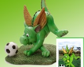 """Dragon playing soccer Figurine by L. A. Berry,  """"Soccer Fun""""  Cute green dragon with soccer ball. FREE NOTE CARD included!"""