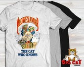 Unisex Cat T-shirt MEOWEXANDER The Cat Who Knows- in white, gray or black