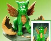 """Hatching Baby Dragon Figurine by L. A. Berry,  """"Just Hatched""""  Cute Baby Dragon  FREE NOTE CARD included!"""