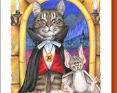 Cat Greeting Card  CAT DRACULA- 5x7 size. Handmade note card signed by the artist- blank inside