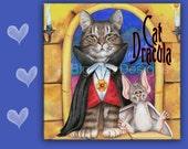 6x6 Cat Dracula Spoon Rest, CAT DRACULA - Use as cat art, cat tile, cat spoon rest or cat trivet. Tabby cat with vampite bat