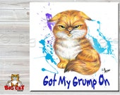 "GRUMPY CAT Spoon Rest, Tile or Trivet  Orange Tabby Cat has  ""Got My Grump On"" .  Great birthday gift for your grumpy friend."