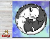 Cat Spoon Rest  YIN YANG CATS - use as art, spoon rest or trivet