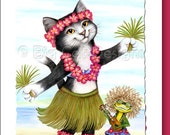 Cat Greeting Card  ALOHA- black and white cat and frog - 5x7 size. Handmade note card signed by the artist- blank inside