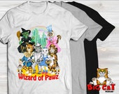 Unisex Cat T-shirt WIZARD OF PAWZ - in white, gray or black