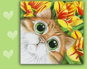 CAT SPOON REST - Orange Tabby Cat - Ginger Persian Cat -  use as art, spoon rest or trivet - 6x6 inches, Great Kitchen Art