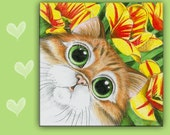 6x6 CAT SPOON REST - C Orange Tabby Cat - Ginger Persian Cat - Use as cat art, cat tile, cat spoon rest or cat trivet. Great Kitchen Art