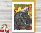 Cat Greeting Card  BLACK CAT Autumn Leaves -  5x7 size. Handmade note card signed by the artist- blank inside