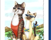 5x7 Cat Greeting Card  TWO KITTENS in PARADISE- blank inside