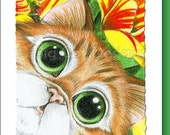 5x7 Cat Greeting Card  LILY KITTY - blank inside