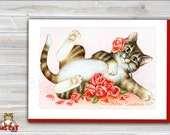 Cat Greeting Card FELINE CASSANOVA - Tabby Cat with Roses - 5x7 size. Handmade note card signed by the artist- blank inside