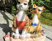 "Tabby and Siamese Cats Figurine by L. A. Berry,  ""Two Kittens in Paradise"" cats at the beach. FREE NOTE CARD included!"