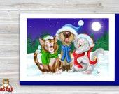 CHRISTMAS Holiday Cat Card, 5X7 Frame Ready Card. Christmas Caroling Cats.  Handmade Card